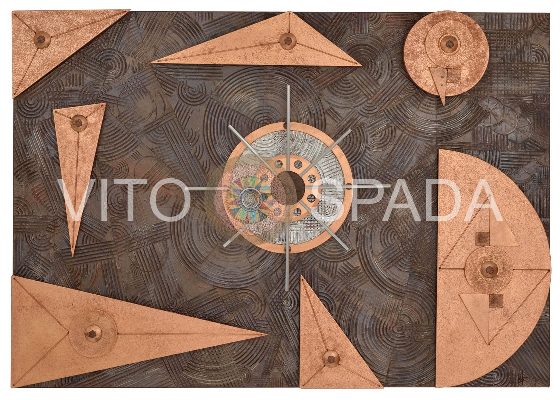 GEOMETRIA VARIABILE 2 Polimaterico, stucco, acrilico, foglia rame, mdf su mdf, 70x100x4, 2020