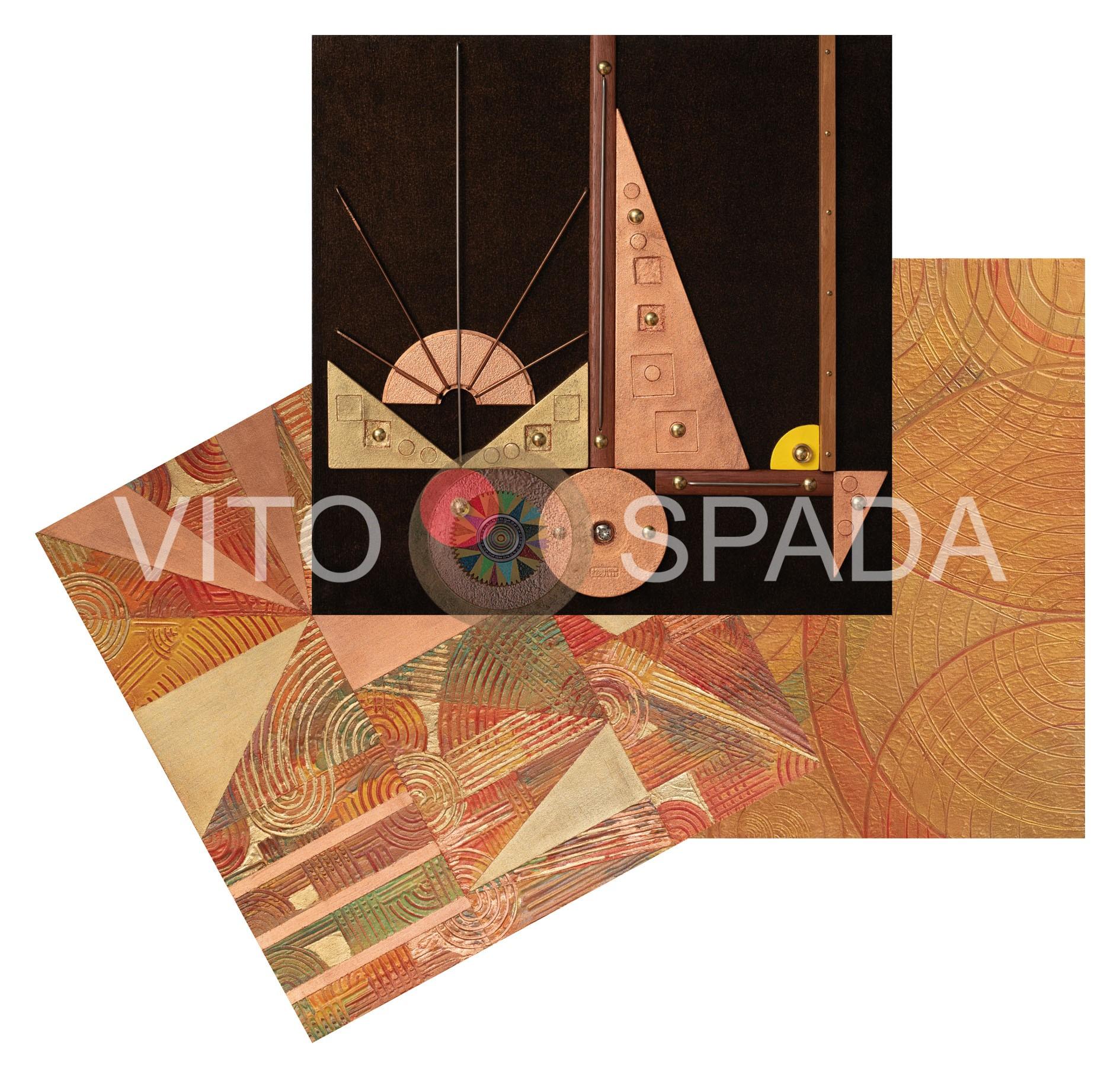 GEOMETRIA VARIABILE - Polimaterico, stucco, acrilico, su 3 pannelli in MDF, 40X40, 2019