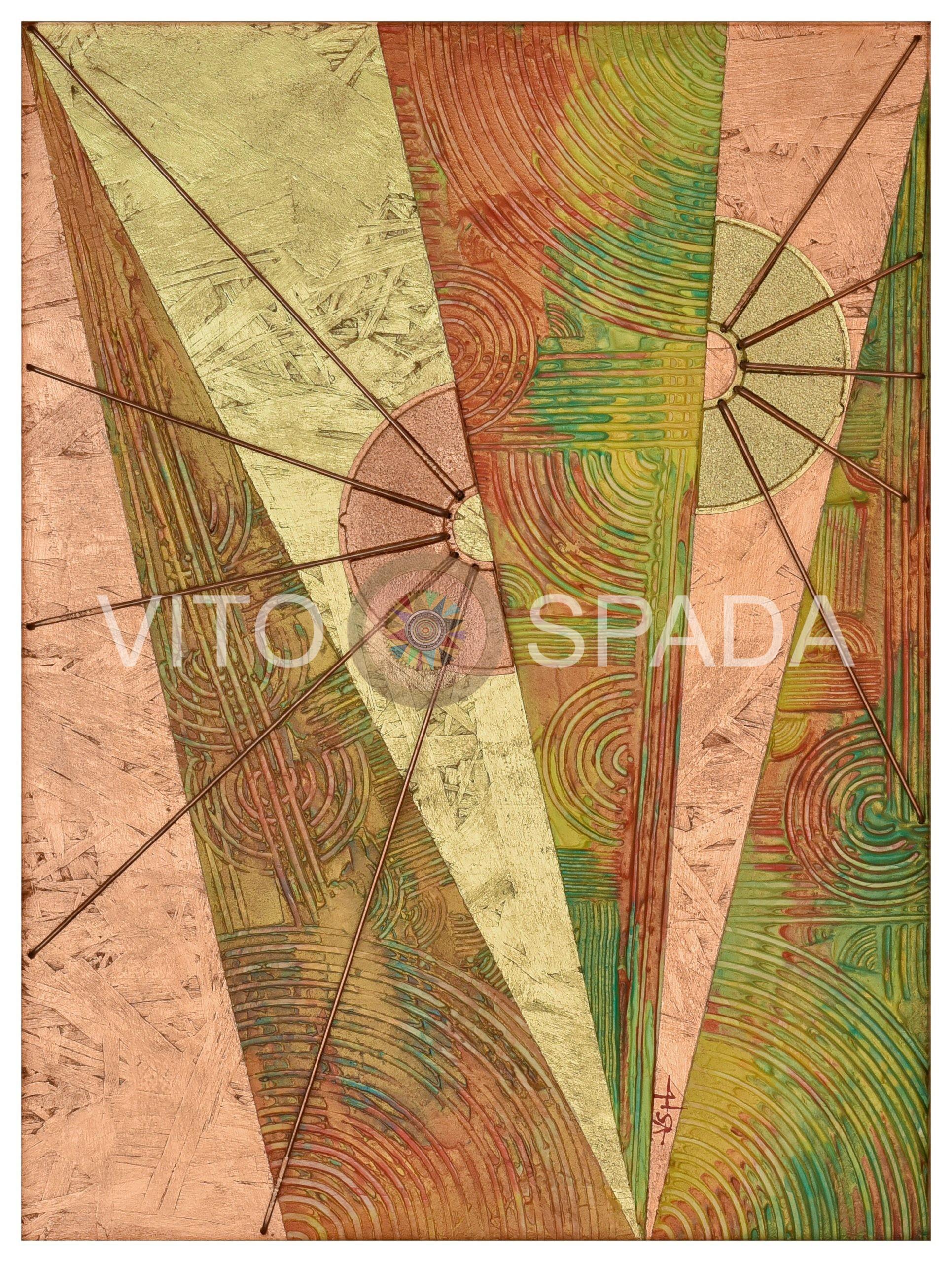 RIFLESSI DI SOLE, Polimaterio, stucco, acrilico, foglia oro, rame su pannello in OSB, 44x33, 2020