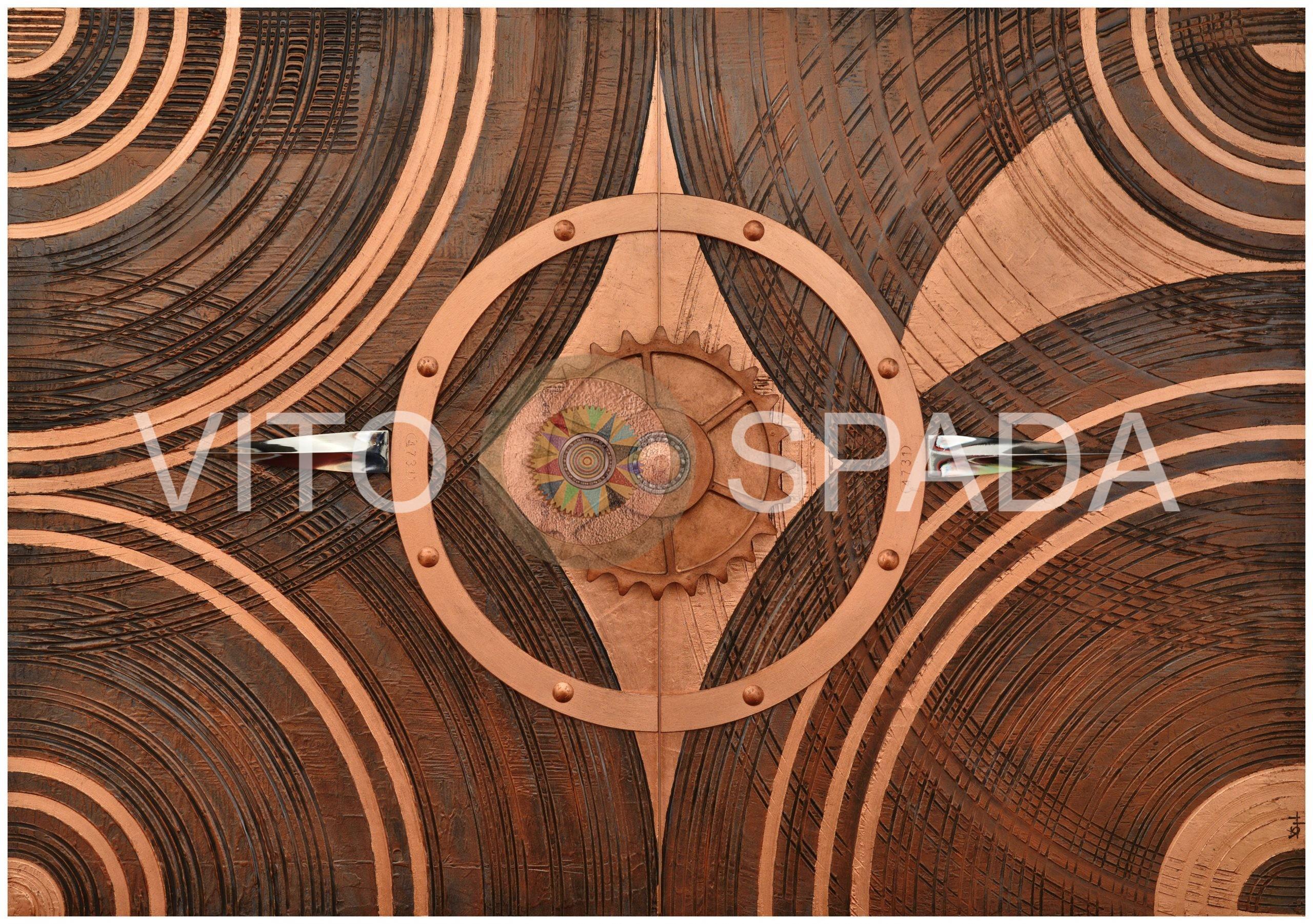 TUTTO NASCE DALLA MATERIA 5 - Polimaterico, stucco, acrilico, oglia rame su MDF, 70x100x4