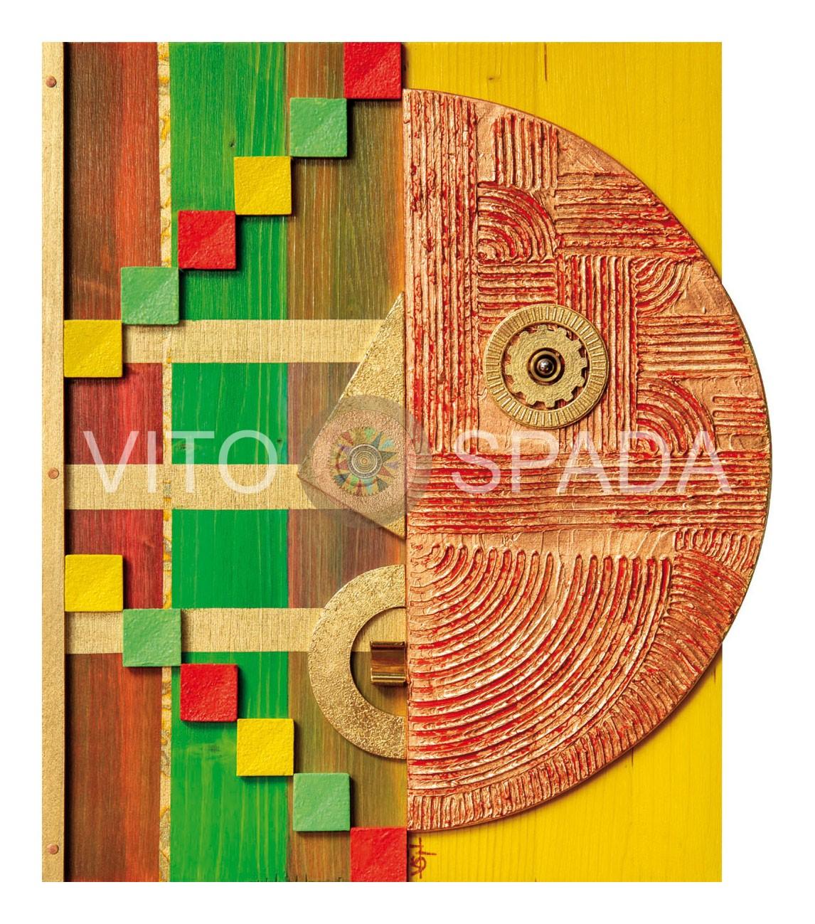 FORME E COLORI IN LIBERTA' - Polimaterico, stucco, acrilico, foglia oro, rame su lamellare in abete, 37x30x3, 2017